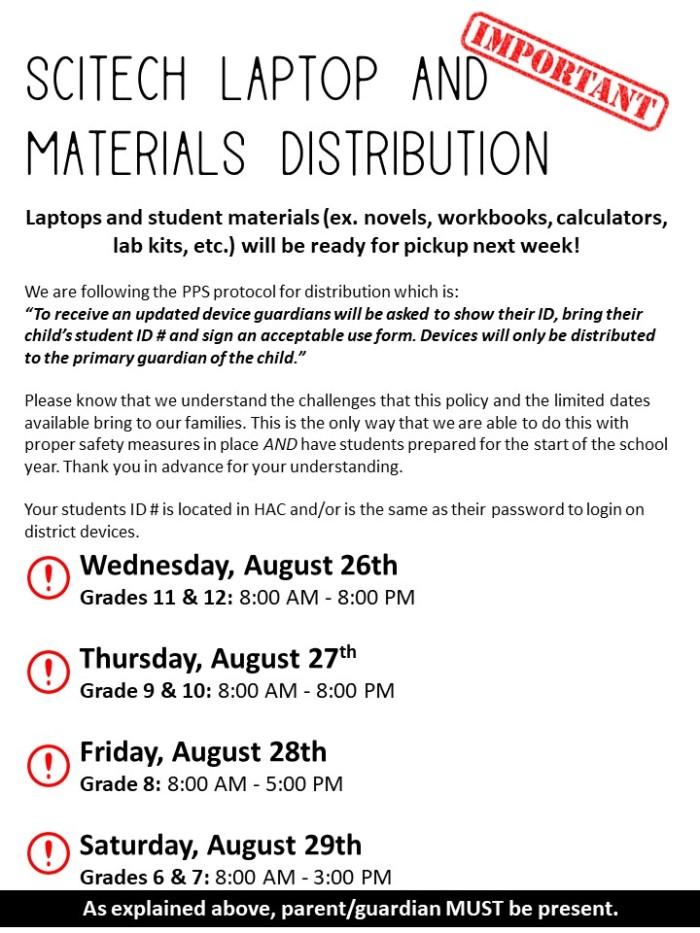 Laptop and Materials Distribution